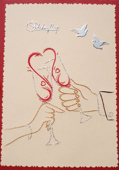 Stitching Patterns, Card Patterns, Sewing Cards, Paper Embroidery, Ova, Wedding Paper, Creations, Card Making, Scrap
