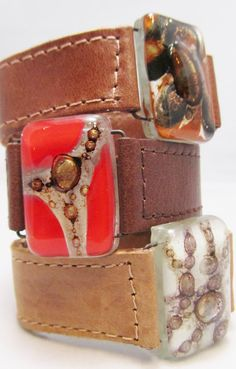 Bracelet Leather and fused glass cuffs 10 wide by CarliBruno, $42.00