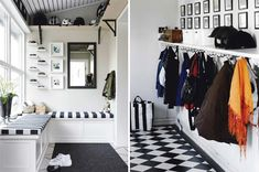 mudroom with just hooks and a shelf instead of separate lockers