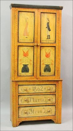 """19TH CENTURY PAINTED CUPBOARD. Possibly Dauphin County, Pennsylvania, dated 1862 and inscribed """"Maria Stein"""" H: 94.25"""" W: 40.50"""" D: 17.25"""""""