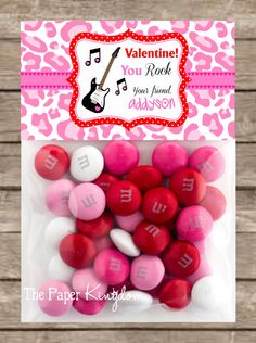 Printable Valentine Bag toppers You Rock Bag by thepaperkingdom