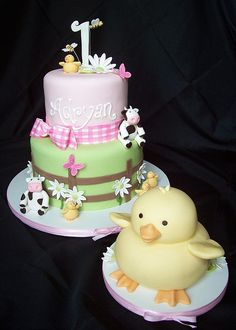 THIS IS IT!!!  But, instead of a duck smash cake, a sheep.  So a sheep at the top of the cake instead of a duck!!!