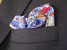 Mens Pocket Square The World Is Not Enough Blue
