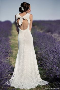 sanyukta shrestha 2014 bridal hepburn sleeveless eco wedding dress bow keyhole back