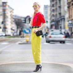 Beautiful blogger Alina Tanasa @fabulousteam wearing our yellow leather pants at Milan Fashion Week 16