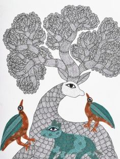 Mother Dear Gond Painting - 11in X 7in By Subhash Vyam #gond