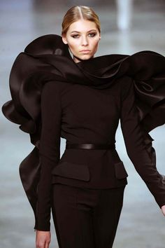 Lavish Fashion - stunning black dress with dramatic dimensional ripples; sculptural fashion design // Stephane Rolland