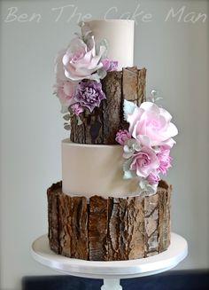 Rustikale Rinde Hochzeitstorte ben the cake man marinagalleryfine Svadobná torta Fondant Wedding Cakes, Fall Wedding Cakes, Wedding Cake Rustic, Rustic Cake, Beautiful Wedding Cakes, Gorgeous Cakes, Wedding Cake Designs, Fondant Cakes, Amazing Cakes