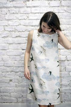 Swallows Shift Dress by Jain&Kriz. 100% linen.