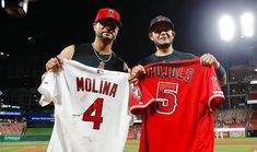 Albert Pujols and Yadier Molina exchange jerseys after the finale of Pujols' return to St, Louis. St Louis Baseball, St Louis Cardinals Baseball, Stl Cardinals, Albert Pujols, Yadier Molina, Tampa Bay Rays, Buster Posey, Fenway Park, Derek Jeter