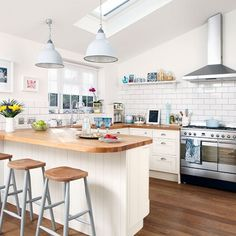 Cream kitchen with pendant lights | Kitchen decorating | Style at Home | Housetohome.co.uk