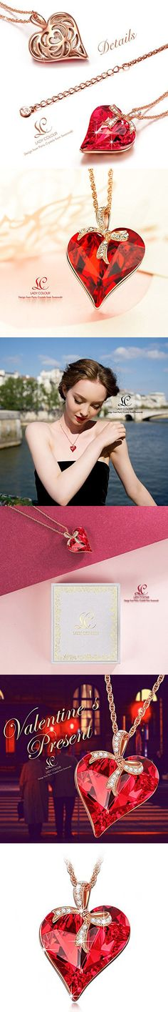 LadyColour Ruby Heart Pendant Necklace with Bow Design, Made With Swarovski Crystals, Women Fashion Heart Jewelry, Great Christmas Gifts, Birthday Gifts, Valentine's Gifts and Anniversary Gifts