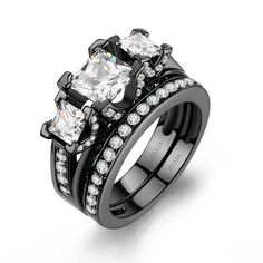 Princess Cut 925 Sterling Silver with 14K Black Gold Plated Women's Three-stone Wedding Ring Set/Engagement Ring