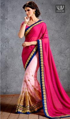 Buy Now @ http://goo.gl/ByBqbG  Blooming Georgette Half N Half Designer Saree  We have ensemble a symphony of enchanting piece to restyle your senses. Be an angel and create a smashing impression on anyone by carrying this hot pink and off white georgette and net half n half designer saree  Product No  VJV-NIRV1508  @ www.vjvfashions.com  #saree #sarees #indianwear #indianwedding #fashion #fashions #trends #cultures #india #instagood #weddingwear #designer #ethnics #clothes #glamorous…