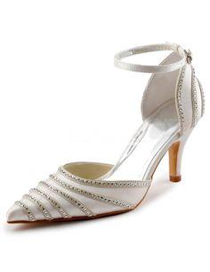 Elegant Rhinestone Pointed Toe Satin Wedding Sandals. See More Wedding Sandals at http://www.ourgreatshop.com/Wedding-Sandals-C922.aspx