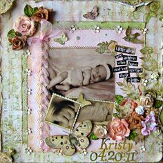 Kristy~~Your Memories Here~~ - Scrapbook.com - #scrapbooking #layouts #baby #marthastewartcrafts #pinkpaislee #basicgrey #prima