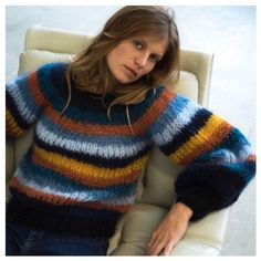 TopModanova ~ Product ~ boho pullover o neck Rainbow stripes mohair sweater ~ ShopBase Winter Sweaters, Wool Sweaters, Winter Jumpers, Jumpers For Women, Cardigans For Women, Grey Jumper Dress, Pull Mohair, Knitwear Fashion, Red Scarves