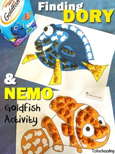 FREE printable Finding Dory & Nemo placemats for Goldfish crackers. Fun activity for kids that also works on fine motor skills!