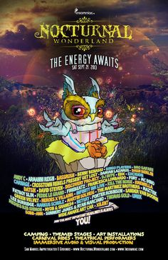 Nocturnal Wonderland Music Festival 2013 Lineup Poster by Insomniac Events
