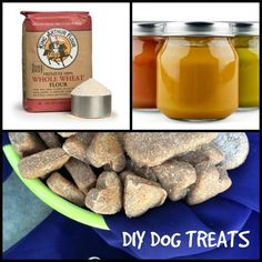 DIY Dog Treats ~ Two Ingredients, So Easy ~ Whole wheat flour 2 jars of any flavor pureed baby food! NOTE: As no food preservatives are used, always freeze your treats take out some to thaw each day for your pet. Puppy Treats, Diy Dog Treats, Homemade Dog Treats, Healthy Dog Treats, Healthy Food, Dog Biscuit Recipes, Dog Treat Recipes, Baby Food Recipes, Dog Cookies