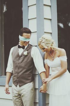 This was such a precious time moment at our wedding, when the tears were rolling down our faces, we snuck in a laughing moment during our praying time before the ceremony... My blindfolded groom was so sweet and I love him and will never forget this!  Rachel Hubka of Rachel Jay Photography caught this one. She second shot for Jenna Petersen Photography and they were one awesome team! @Daniel Marino