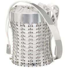 Paco Rabanne 1401 Chain-Link Mini Mirrored Leather Bucket Bag (114810 RSD) ❤ liked on Polyvore featuring bags, handbags, shoulder bags, silver, drawstring bucket bag, chain link purse, paco rabanne, bucket bag and miniature purse