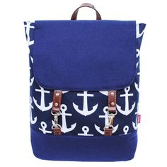 """Free personalization  double clasp navy and white anchor print backpack Top zipper closure 6 open pockets inside Canvas material Open pocket on outside Adjustable shoulder straps to 16 1/2"""" Hook clasp closure 15"""" x 14 1/2"""" x 5'"""