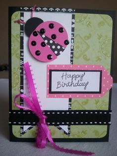 Ladybug Birthday card by Alteredbooksnthings on Etsy, $3.50