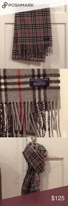 Gray Burberry Wool Scarf Authentic Burberry Scarf in great condition.  100% lambs wool. Burberry Accessories Scarves & Wraps