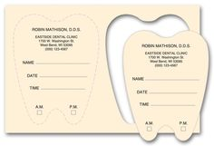 Die-cut Dental Appointment Card - something different