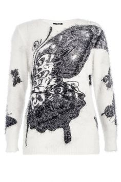 White And Black Fuzzy Butterfly Print Jumper