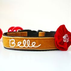 'Belle' Personalized Holiday Dog Collar