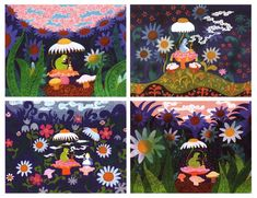 Mary Blair. Disney Animator. storyboard for Alice in Wonderland.