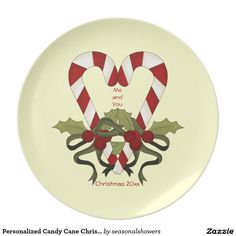 Personalized Candy Cane Christmas Plate