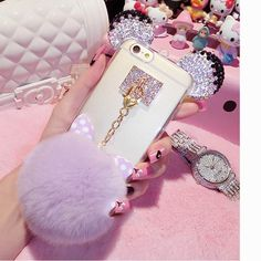 New Luxury Crystal Mickey Head Bowknot Fur Ball Soft TPU Phone Back Cover Phone Case For Iphone 5 5S 6 6S 6Plus 6S Plus YC1284 - Pandora Fashion
