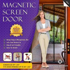Magnetic Screen Door, Mesh Curtain – Keeps Bugs & Mosquitoes Out, Lets Cool Breeze In – Premium Quality – Toddler And Pet Friendly – Fits Doors Up To MAX Instant screen size x – fits door openings up to x.