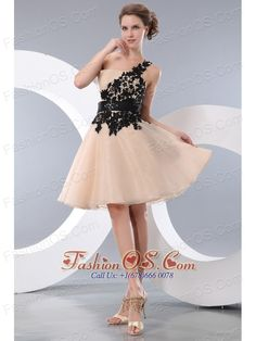 Beat Champagne Short Prom / Homecoming Dress A-line / Pricess One Shoulder Mini-length Organza Appliques- $107.26  http://www.fashionos.com  It truly is an example of high end couture fashion. This gown features one shoulder strap that is encrusted with lace flower on the bodice. A coordinating waist sash adds interest and detail to the mid-section of the dress. Soft chiffon creates an interesting handkerchief hem.