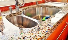 Vetrazzo slabs and panels are unique surfaces hancrafted with recycled glass in America. Kitchen and bath design products: tiles, countertops, mosaics, etc. Glass Countertops, Kitchen Installation, Kitchen And Bath Design, Eclectic Kitchen, Countertop Design, Kitchen Remodel, Cabinetry Design, Kitchen Improvements, Recycled Glass