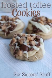 Six Sisters Frosted Toffee Cookies Recipe. These are so moist and you will love the toffee taste!