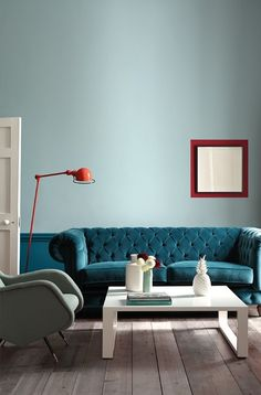 22 Turquoise Furniture for the Living Room - Turquoise is the slice between blue and green, with the dominant blue. The turquoise is not often found in the home furniture. Commonly it is used as the decoration. Hippie Home Decor, Bohemian Decor, Diy Home Decor, Living Room Paint, Living Room Decor, Little Greene Farbe, Bedroom Walls, Casa Milano, Turquoise Furniture