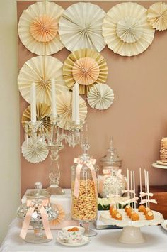 Paper wall decorations, general party colour scheme