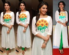 Wearing a Surendri by Yogesh Chaudhary suit, Samantha attended a recent charity event. Braided hair, Amrapali earrings, Suhani Pittie bangles and t-strap sandals finished out her look. Like what you see? Samantha Ruth Prabhu At United Way Charity Awards Event Photo Credit: Ragalahari More guilt readingIn Payal SinghalIn Vasavi ShahIn Ritika MirchandaniIn Burberry Prorsum