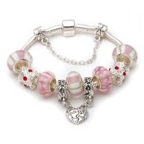 Mothers day gift! Pink murano glass beads mother daughter dangle charm beads European bracelet