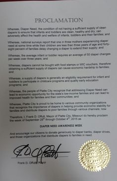 Platte City, MO - Mayoral proclamation recognizing Diaper Need Awareness Week (Sept. 28 - Oct. 4, 2015) #DiaperNeed www.diaperneed.org