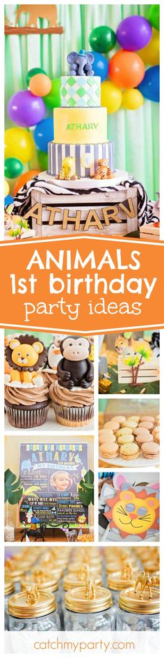 Get ready for fun at this Animal inspired 1st Birthday Party!! Love the party decorations!!! See more party ideas and share yours at CatchMyParty.com