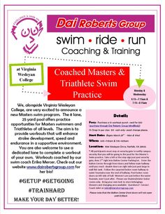 Masters and Triathlete Swim practice begins on March 23rd!  Check out our website for details:  www.dairobertsgroup.com/swimming.html