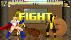 Power Girl And Captain Caveman VS Scorpion And Annoying Orange In A MUGEN Match / Battle / Fight This video showcases Gameplay of The Annoying Orange And Scorpion The Undead Ninja From The Mortal Kombat Series VS Captain Caveman From The Captain Caveman And The Teen Angels Series And Power Girl The Superheroine In A MUGEN Match / Battle / Fight