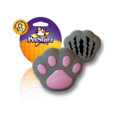Juguete mordedera de vinil en forma de huella color gris, con la característica de que en la parte inferior tiene un mecanismo que hace que silbe o haga chirridos cuando el perro lo muerda, ideal para perros de raza miniatura
