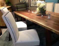 Get ready for the Holidays with this walnut slab table! The white linen chairs make for an elegant dining room! Elegant Dining Room, Gallery Furniture, Rustic Dining Table, Furniture Decor, Walnut Slab Table, Furniture, Stylish Furniture, Home Decor, Beautiful Furniture