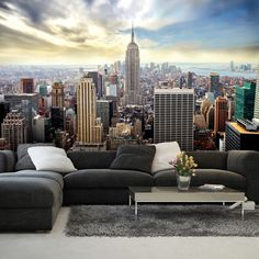 Giant size wallpaper mural for bedroom and living rooms. New York blue skyline wall mural ideas. Express and worldwide shipping. City Wallpaper, Paper Wallpaper, Photo Wallpaper, Bedroom Wallpaper, Wallpaper Door, Wallpaper Murals, New York Tapete, Living Room Sets, Living Room Decor